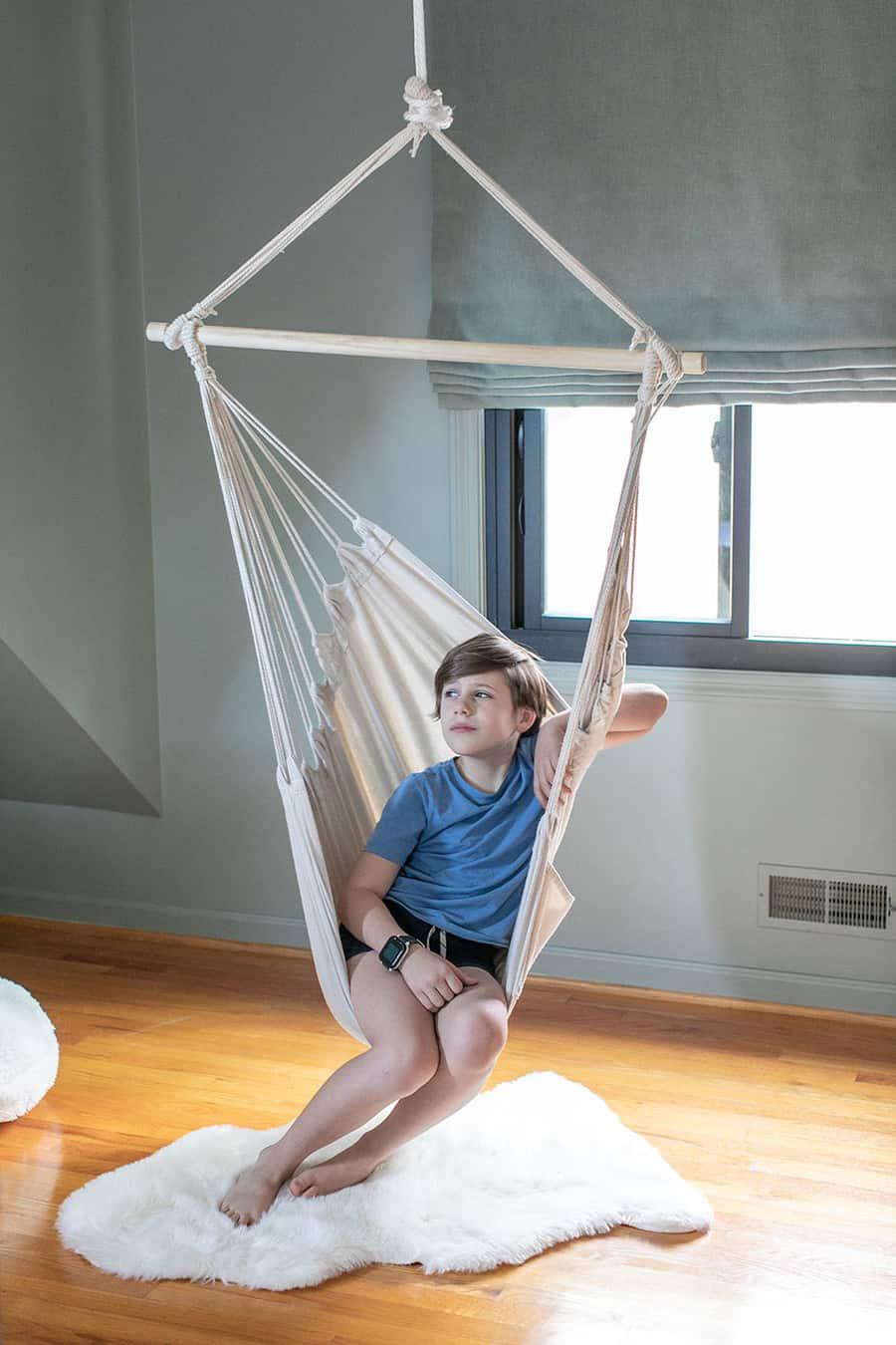 Kids bedroom ideas boy in a hanging chair