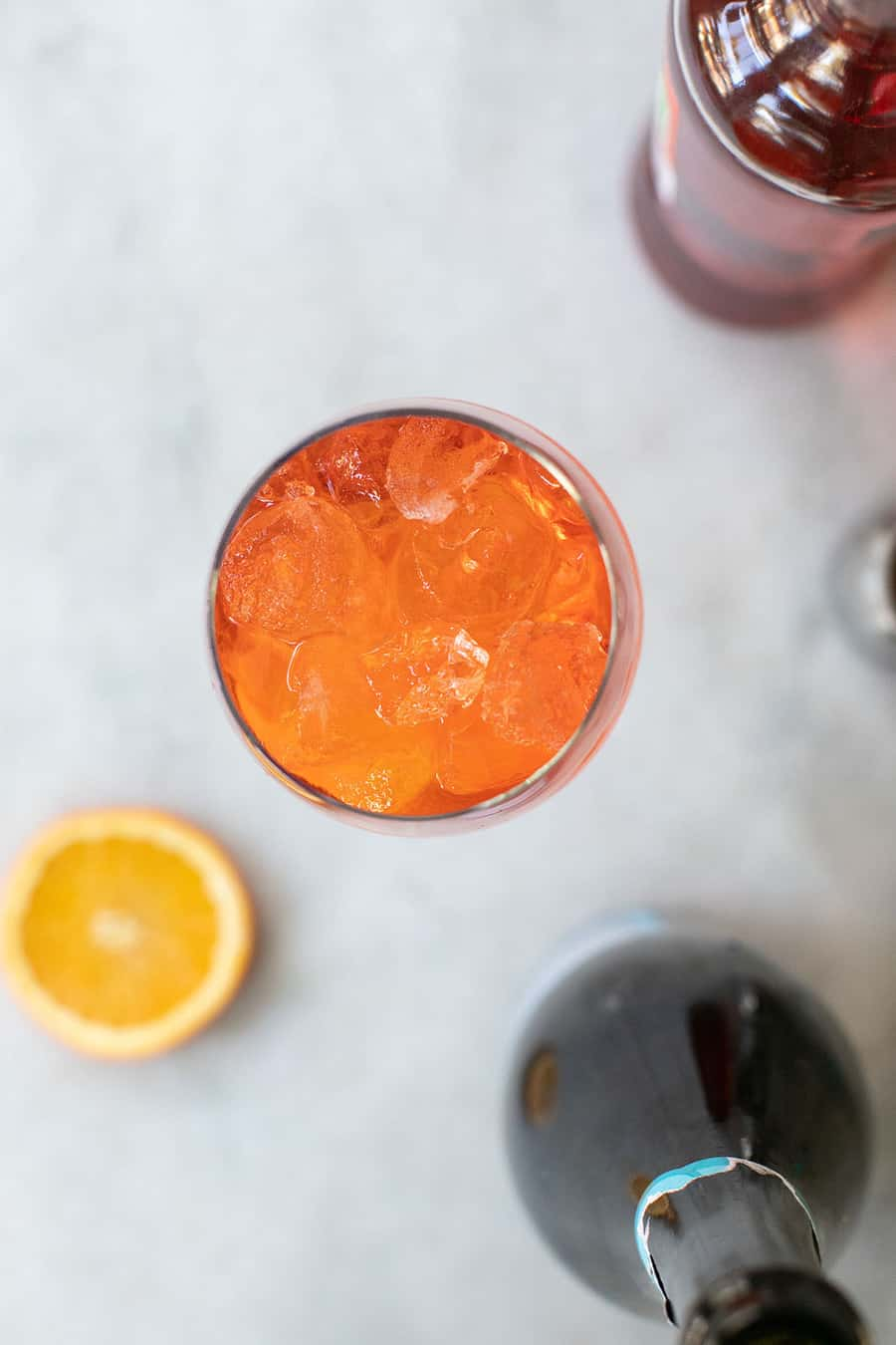 Cocktail made with Aperol, Prosecco and club soda