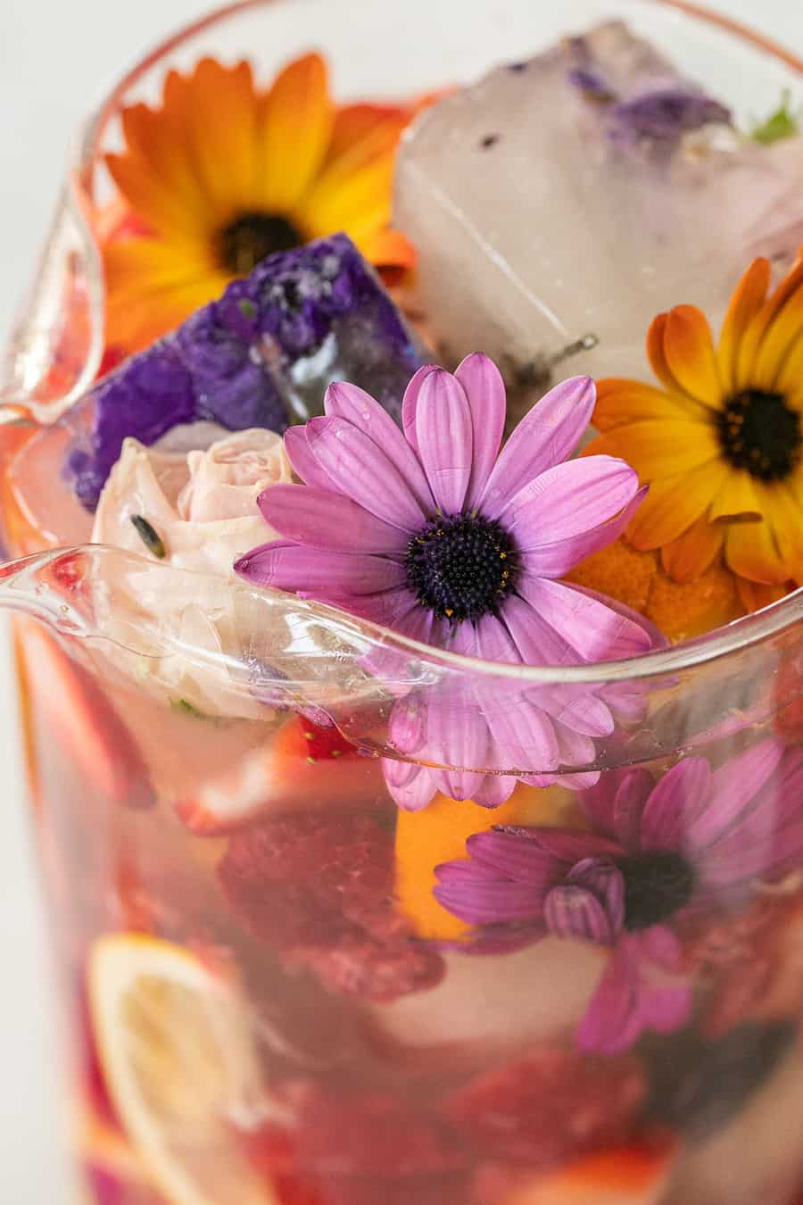 Edible flowers in sangria