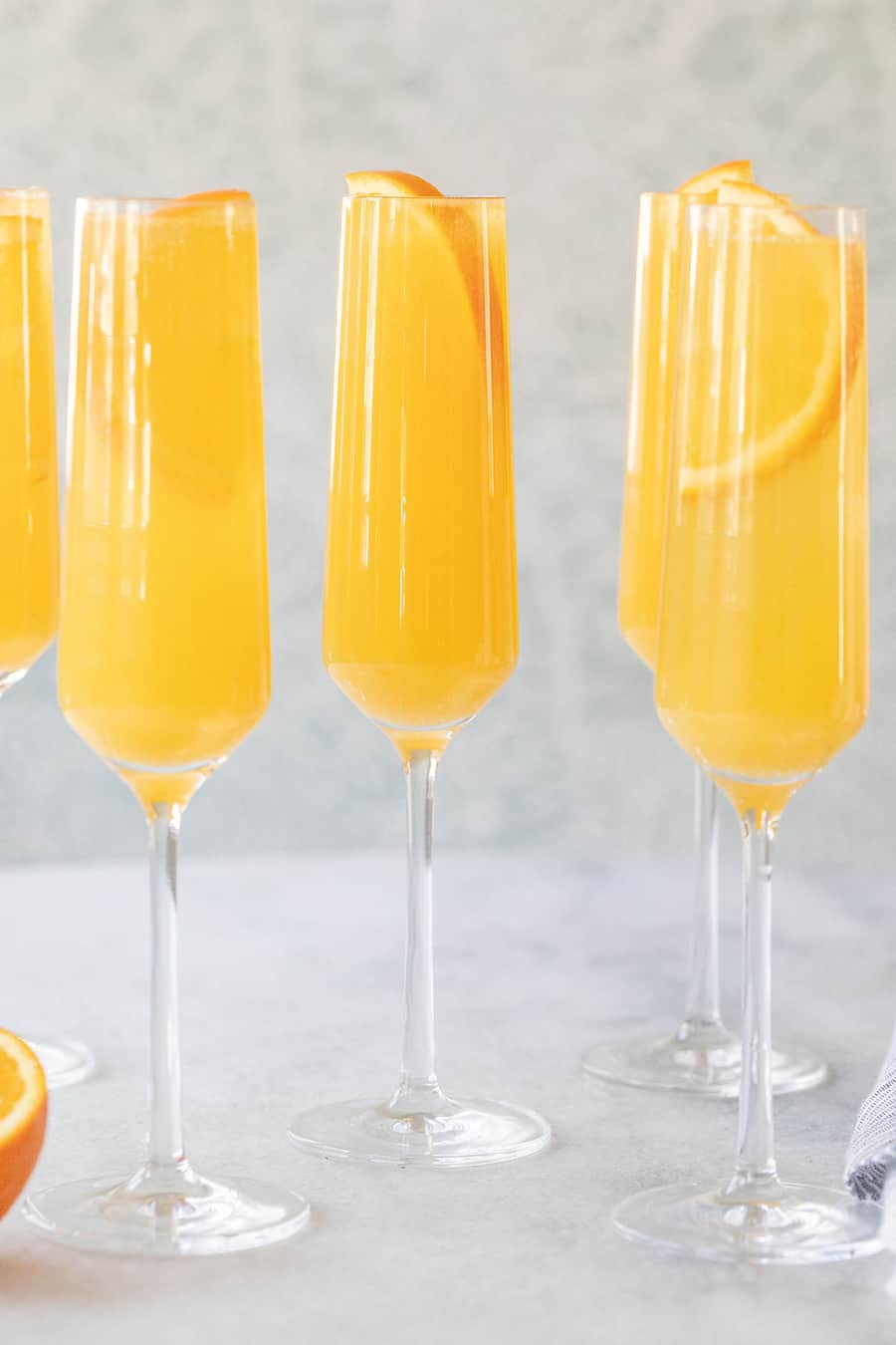 Mimosa recipe in a Champagne flute