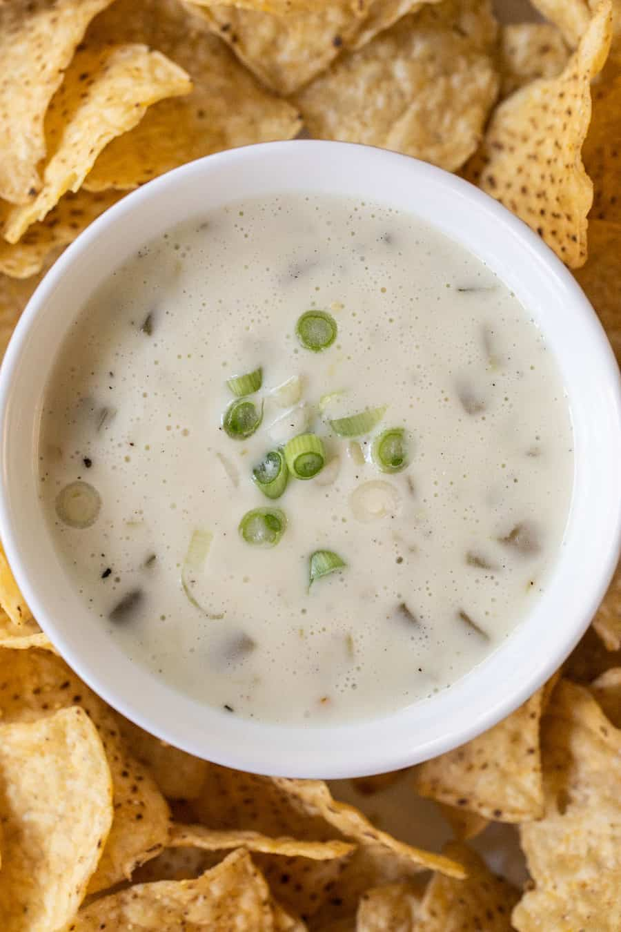 Queso blanco dip with chilis and green onions.
