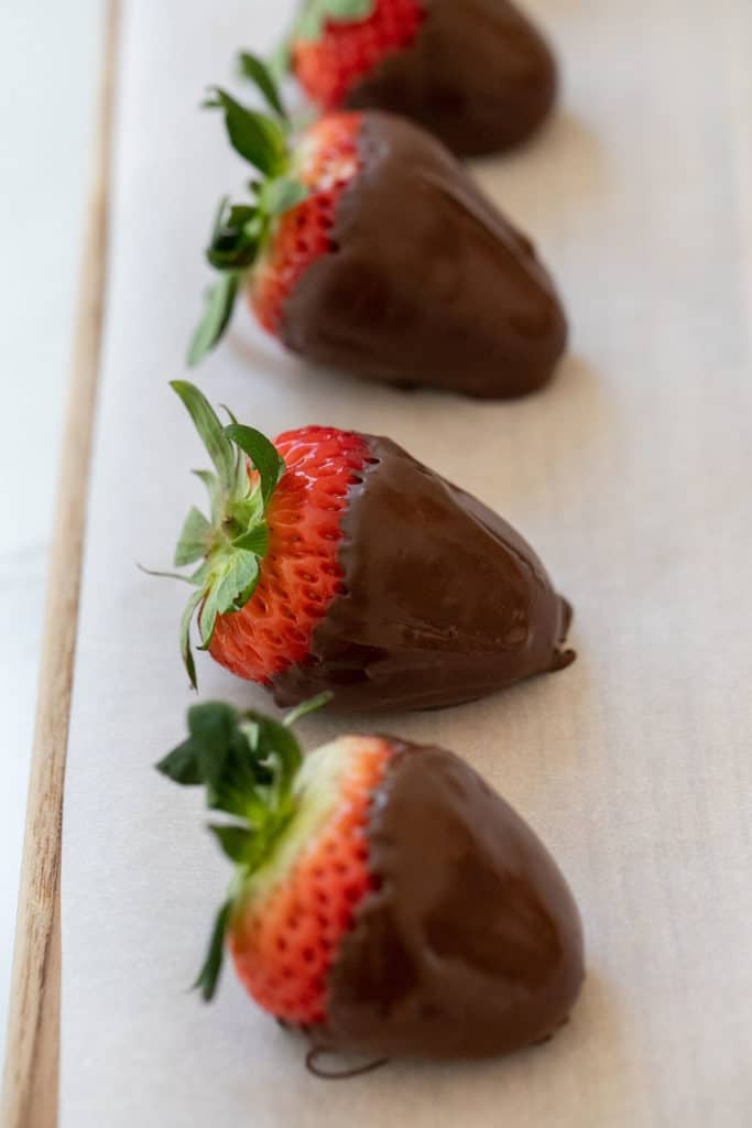 strawberries on parchment paper
