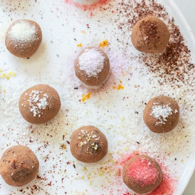 chocolate truffles with toppings