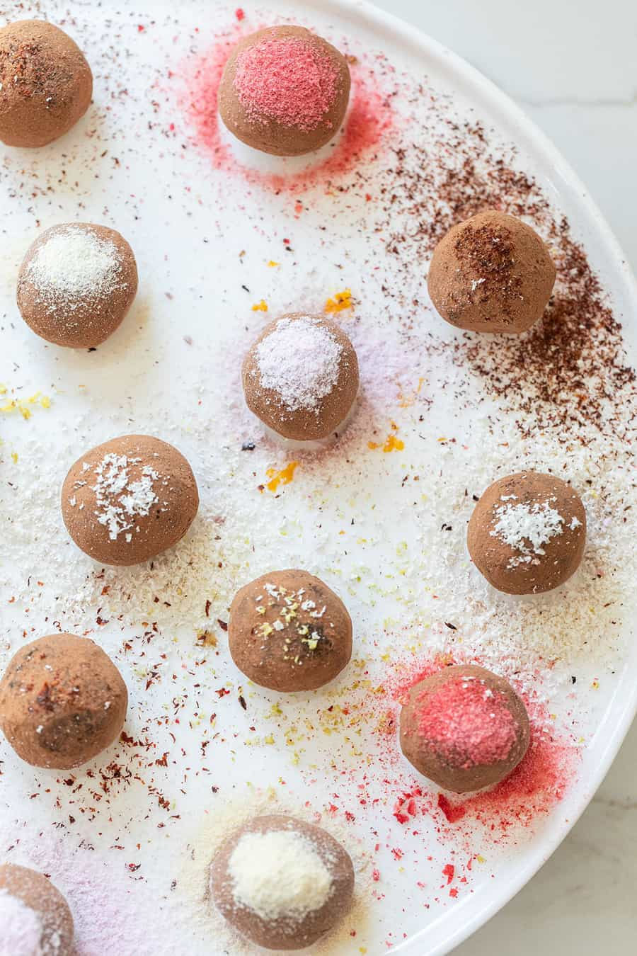 Chocolate truffles with fun toppings
