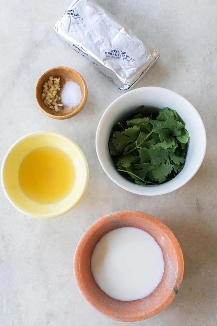 Cilantro, milk, cream cheese, lemon juice, salt and garlic
