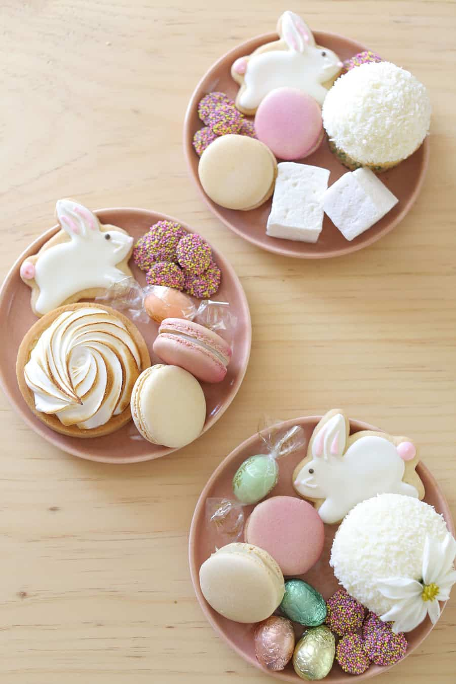 Easter desserts on pink plates