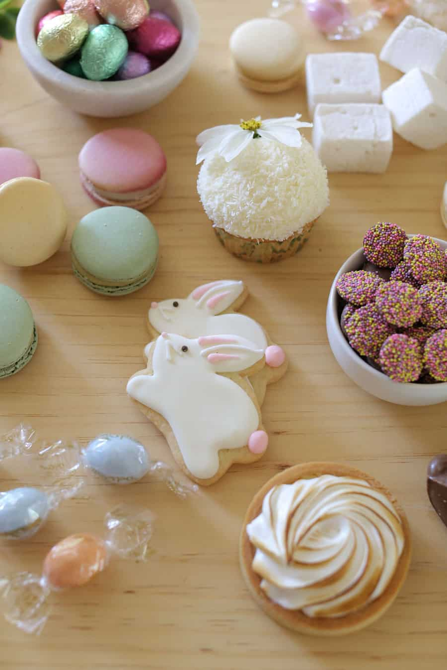 Easter candy, cookies and macarons