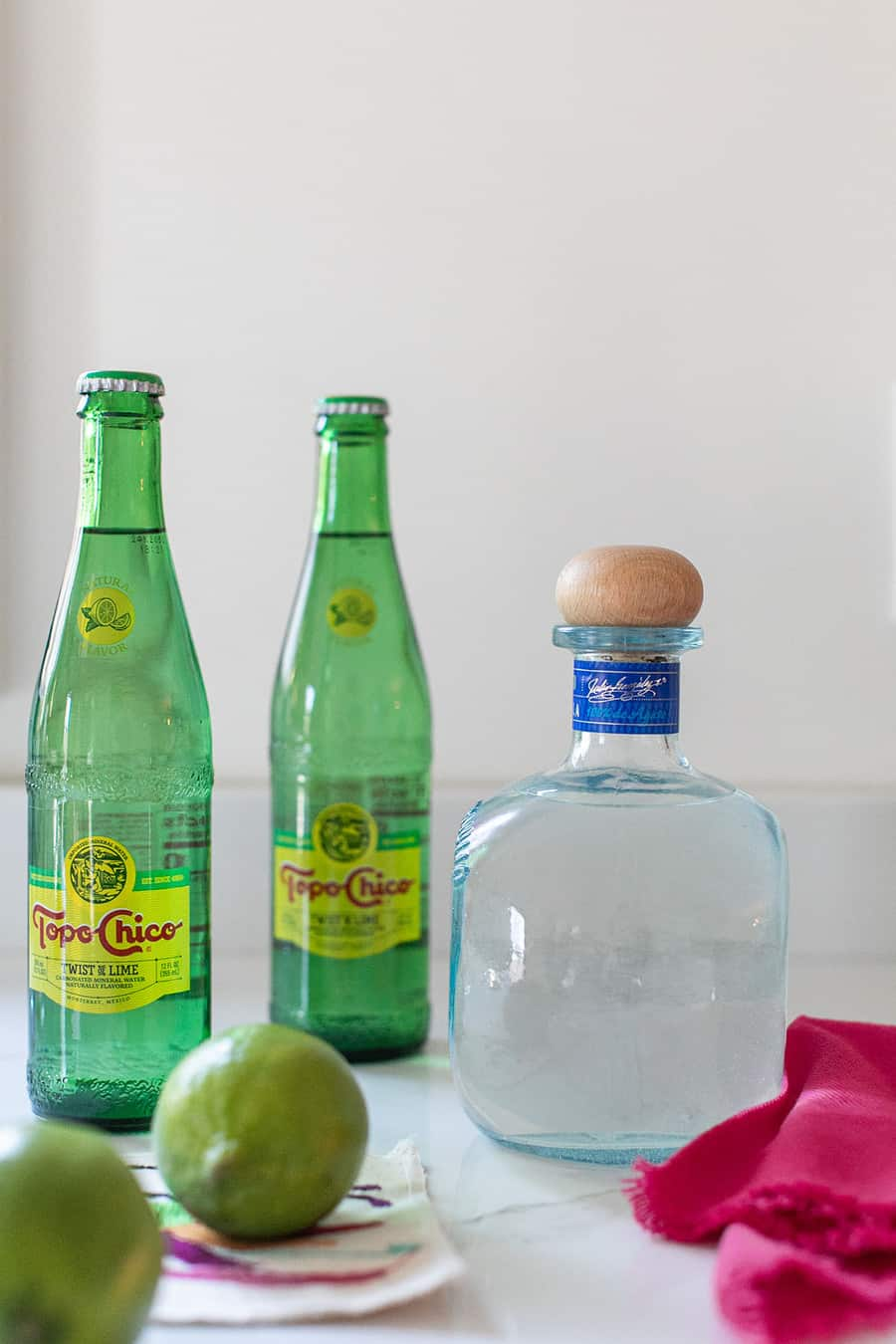 Topo Chico, lime and tequila