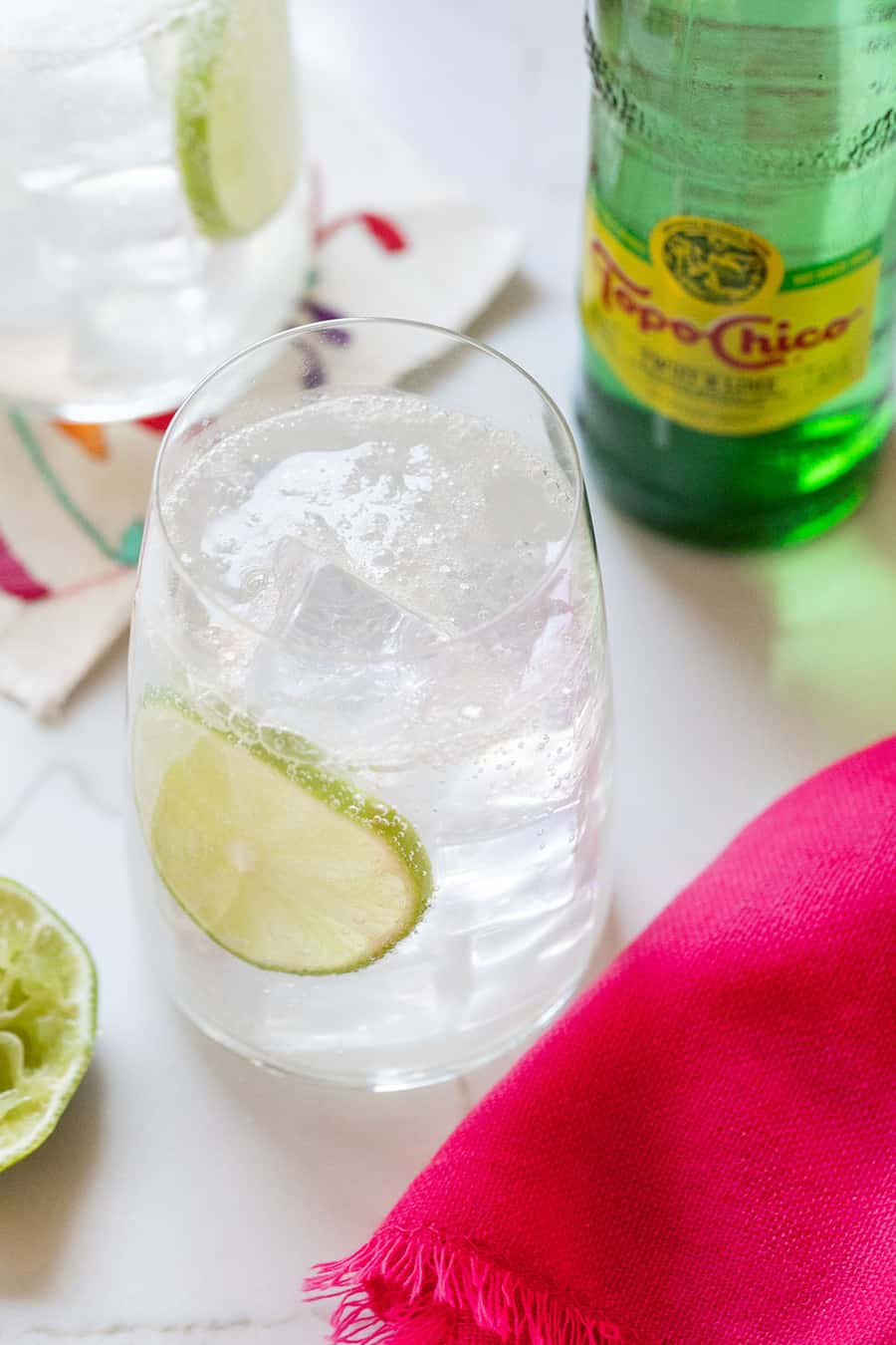 Light cocktail made with tequila and Topo Chico