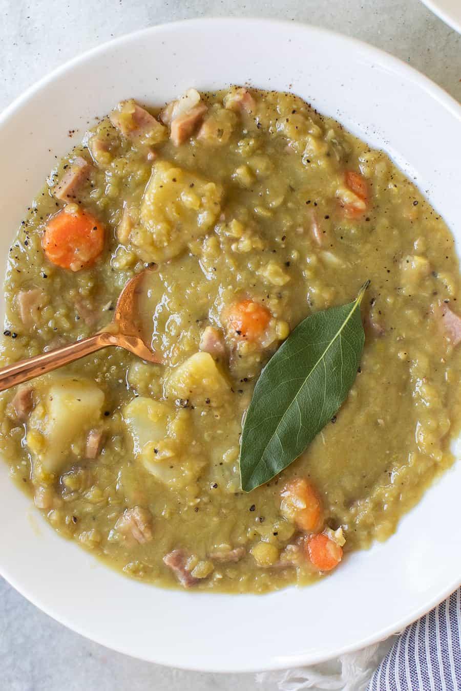 Split pea soup recipe with fresh bay leaf