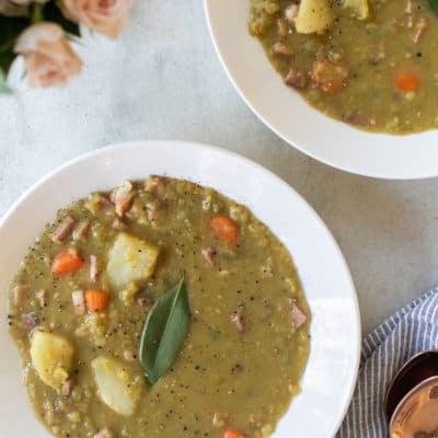 split pea soup in a white bowl