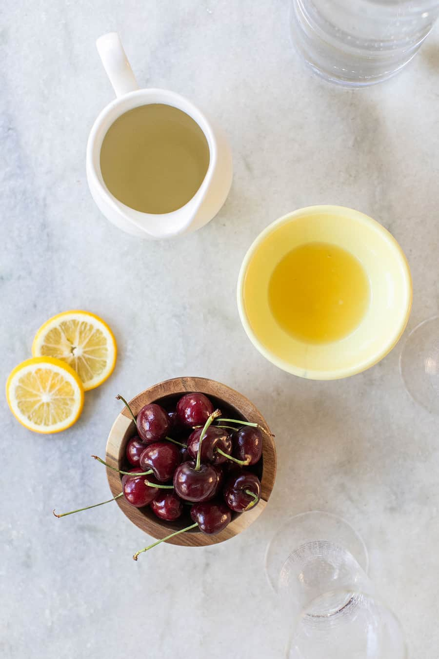 cherries, lemon juice, simple syrup and gin