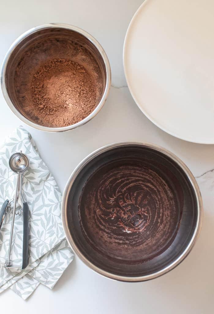 chocolate ganache, cocoa powder, cookie scooper to make truffles
