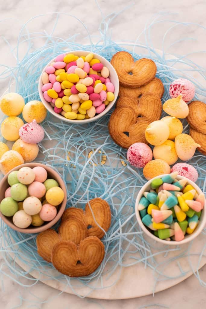 making Easter dessert platter