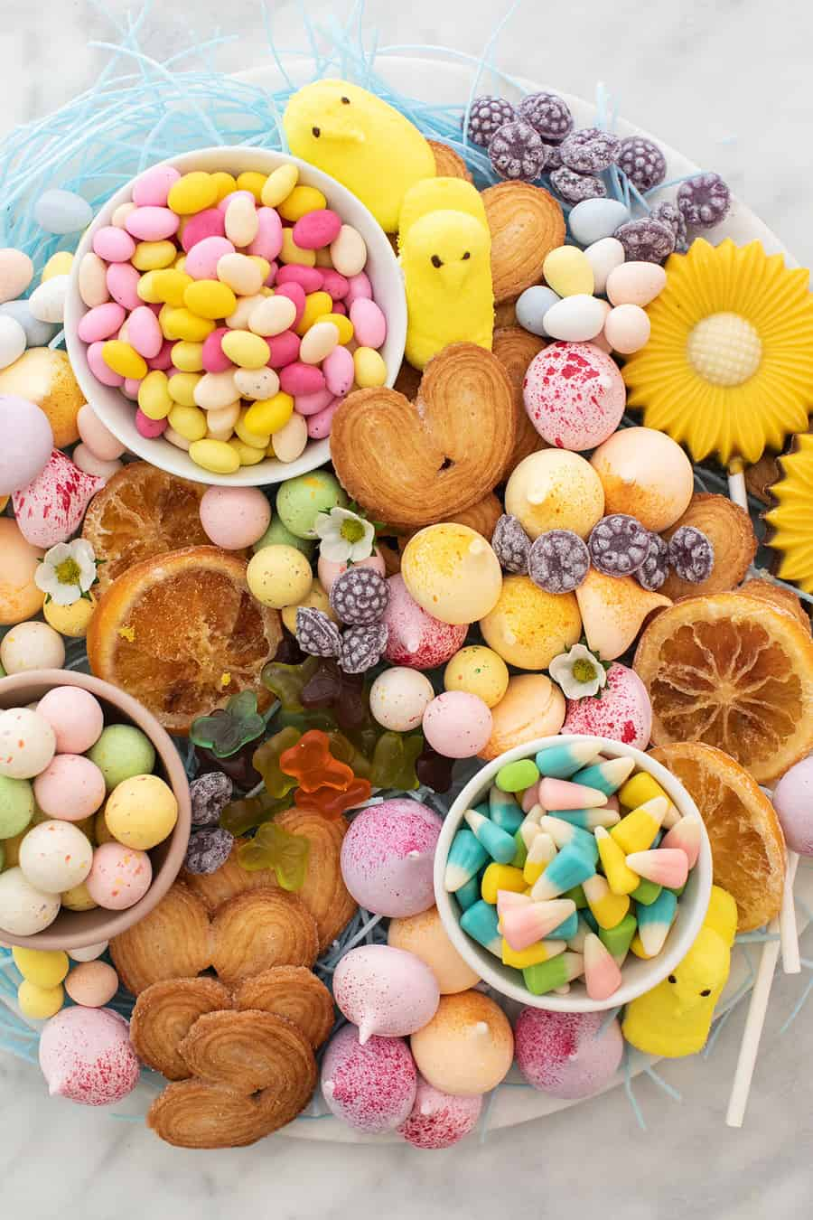 Easter dessert candy platter filled with colorful candy
