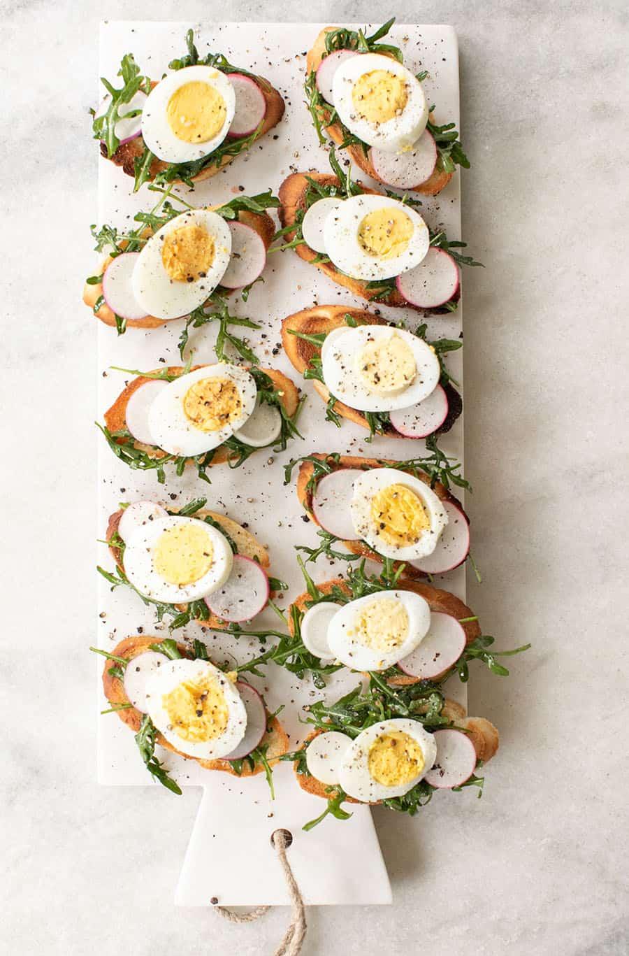 Hard boiled crostini Easter recipe