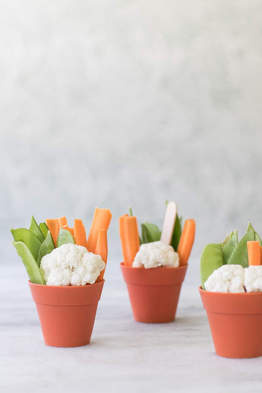 Vegetables inside little pots with hummus