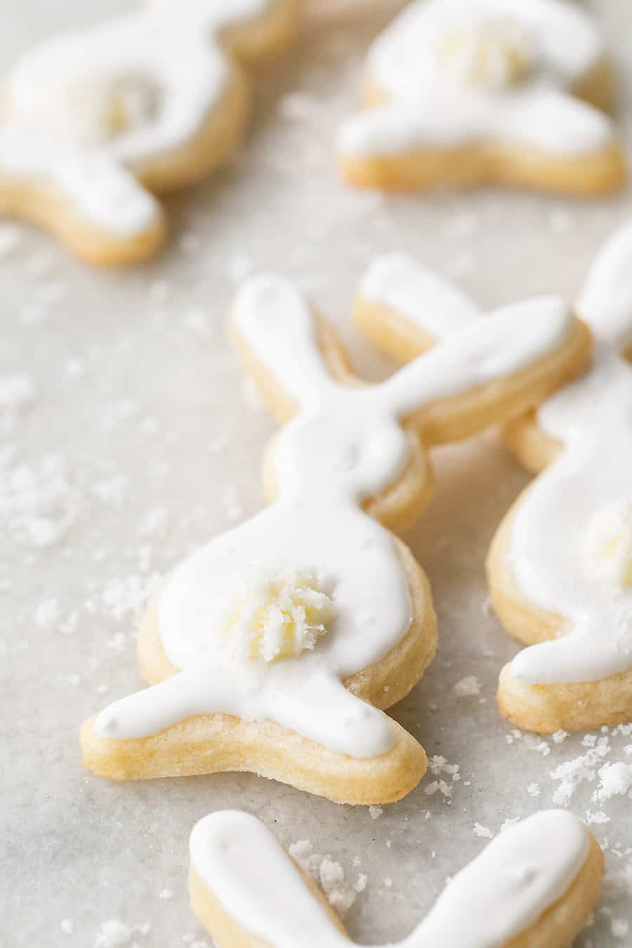 Bunny shaped sugar cookies