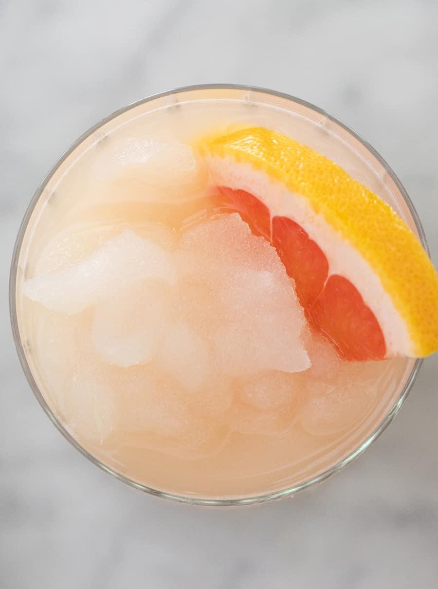 overhead photo of frozen Paloma cocktail