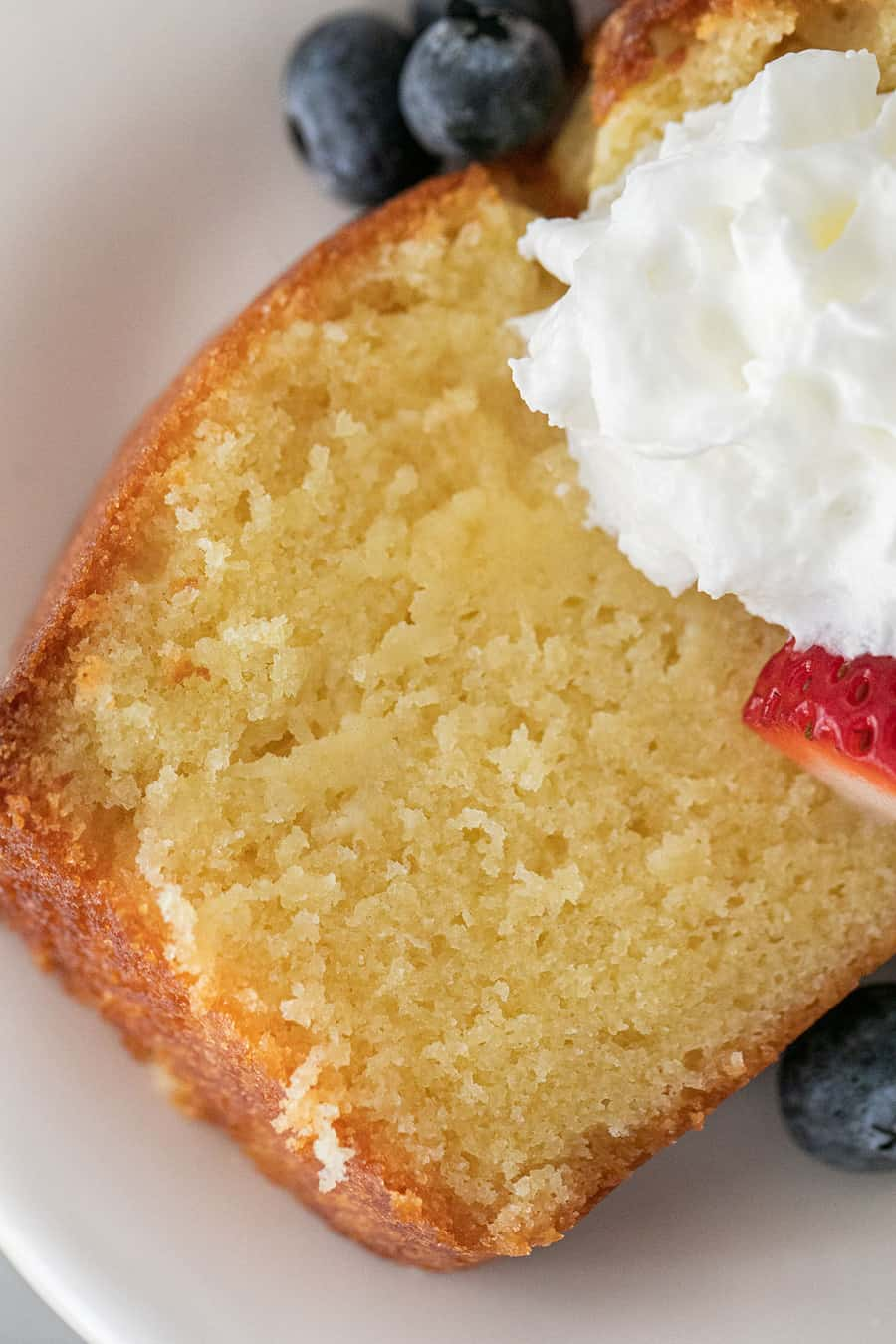 Moist pound cake with whipped cream