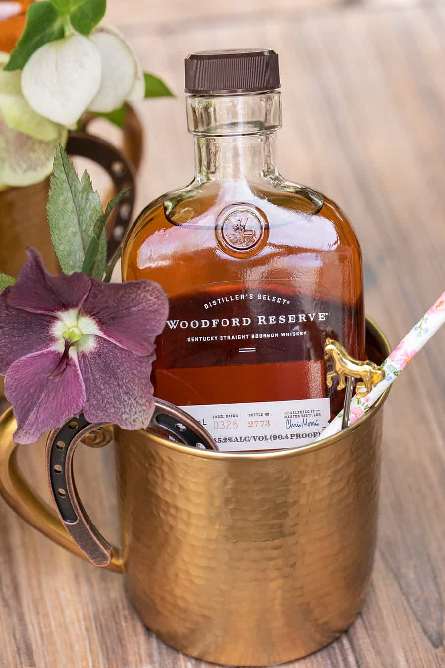 Woodford Reserve in a gold mug as a Kentucky Derby favor