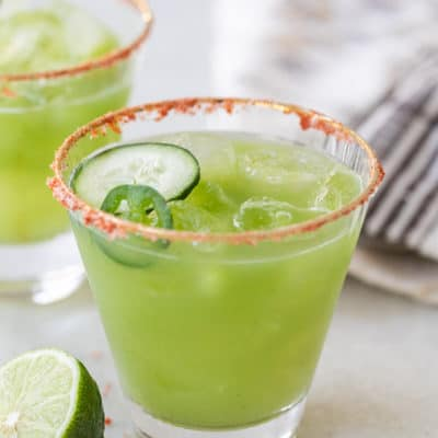 Spicy green cocktail with cucumber and jalapeño