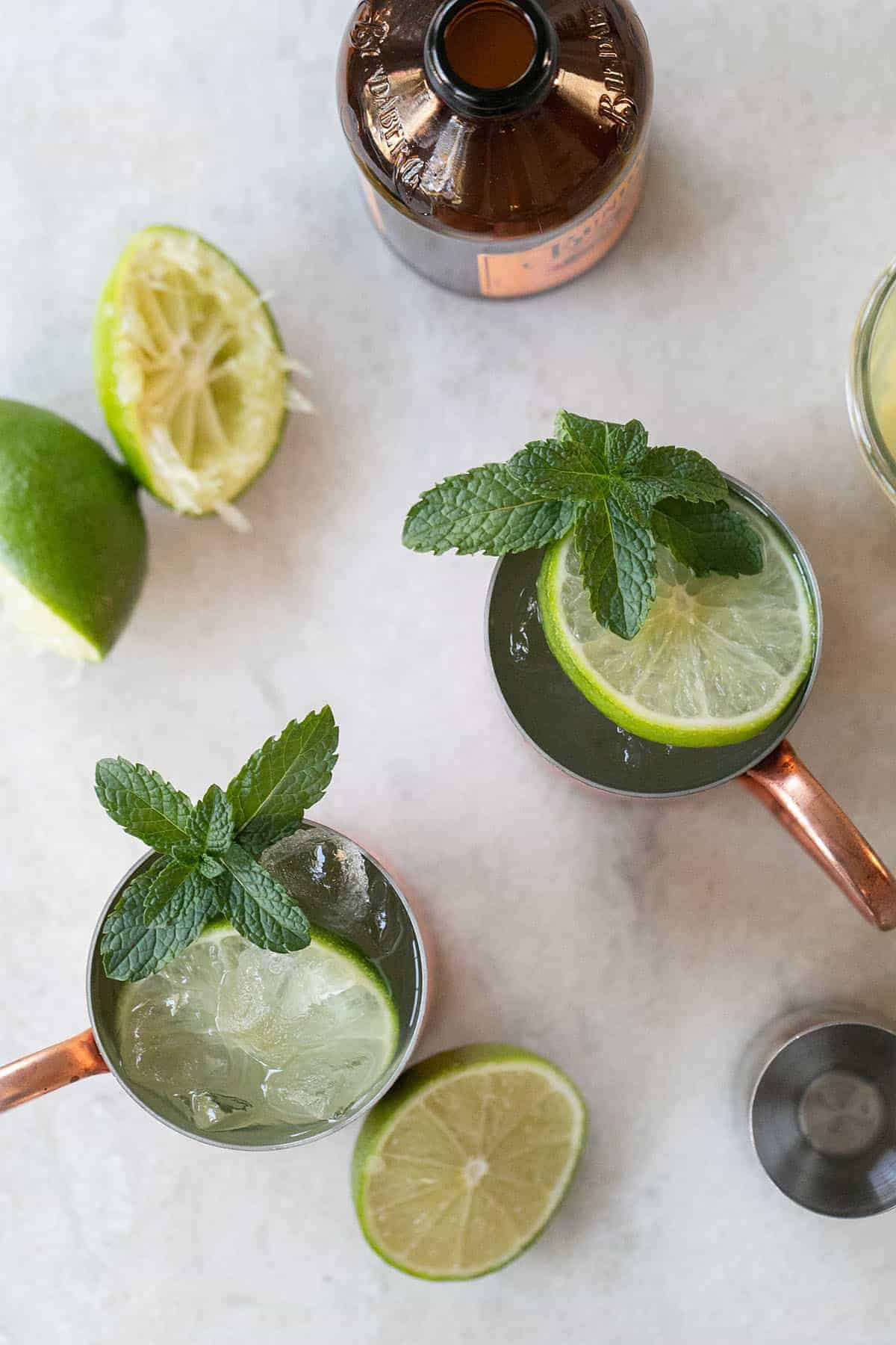 Moscow Mule with mint and lime