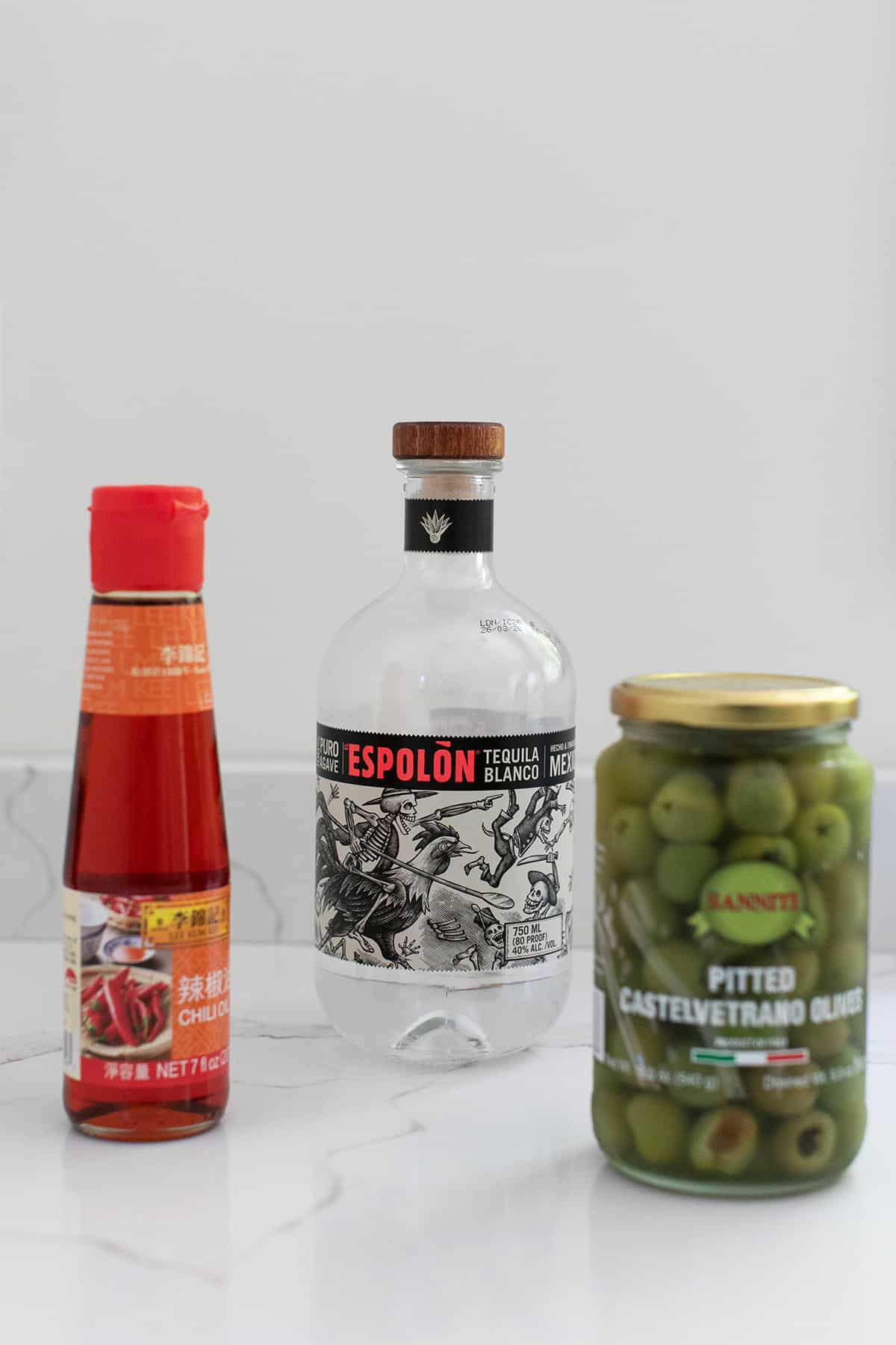 Espolon tequila, olives and chili oil