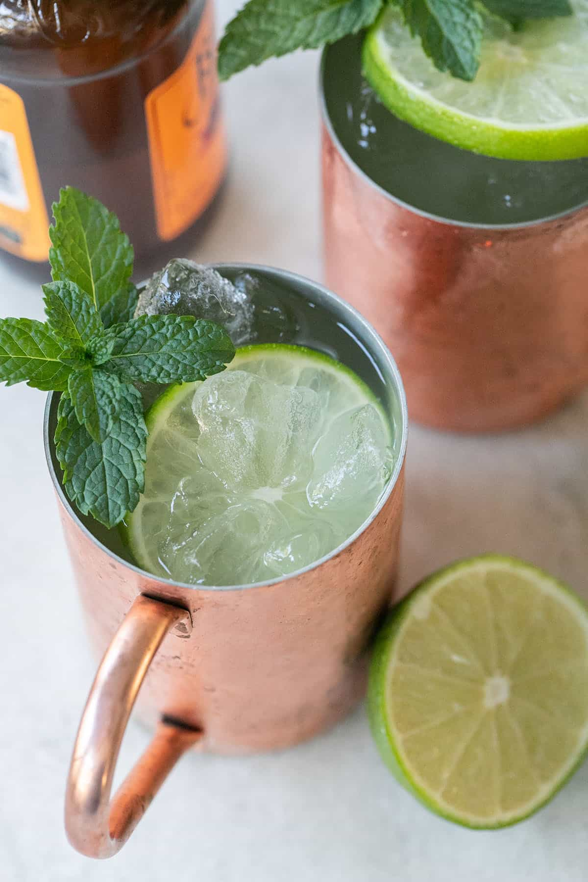 Cheap mixed drinks is a Moscow mule in a copper mug