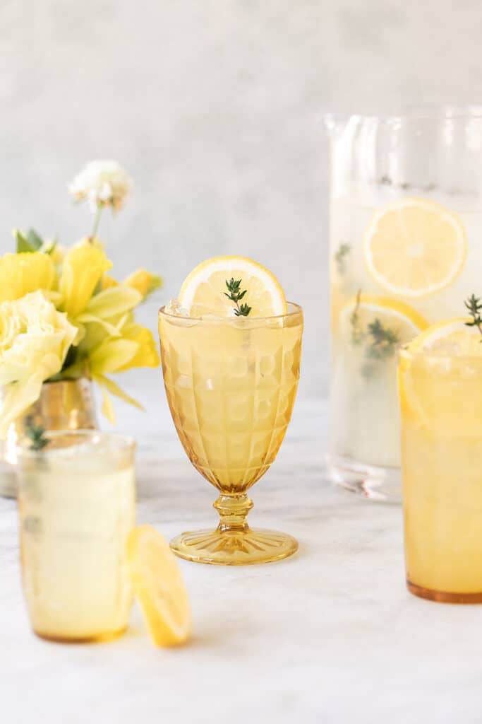Cheap mixed drinks Tequila lemonade in a yellow glass