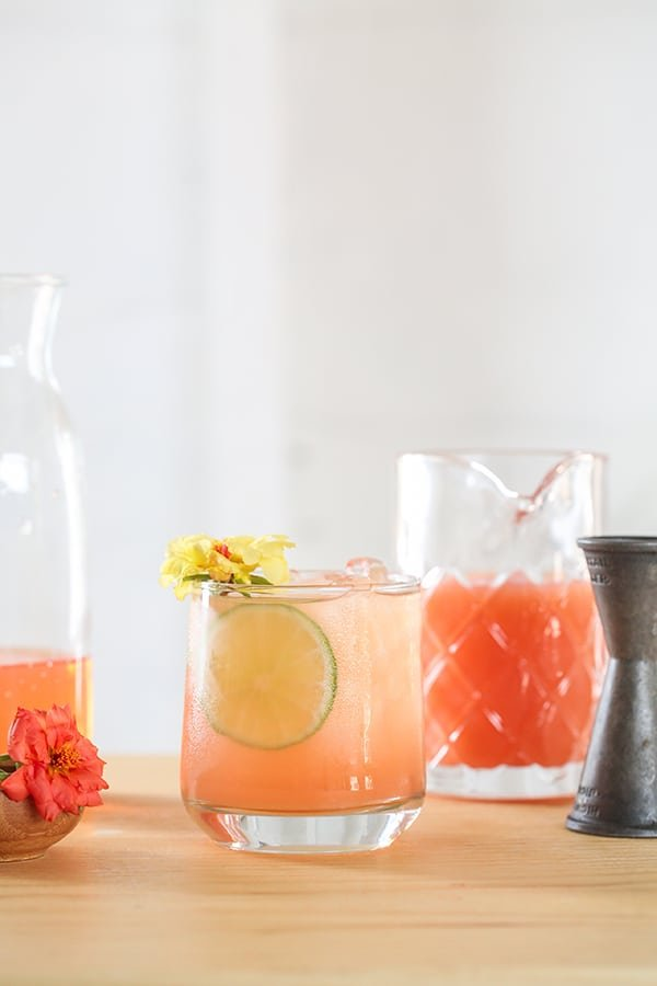 Paloma cocktail  with lime and grapefruit juice and tequila