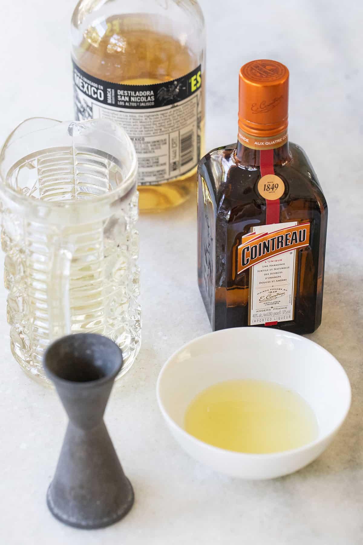 lemon juice, cointreau, tequila