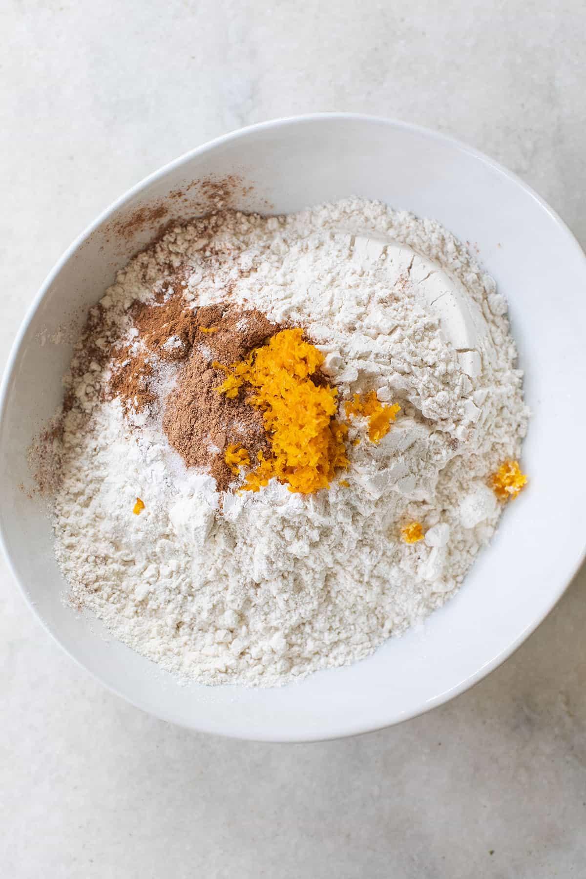 flour, orange zest, spices