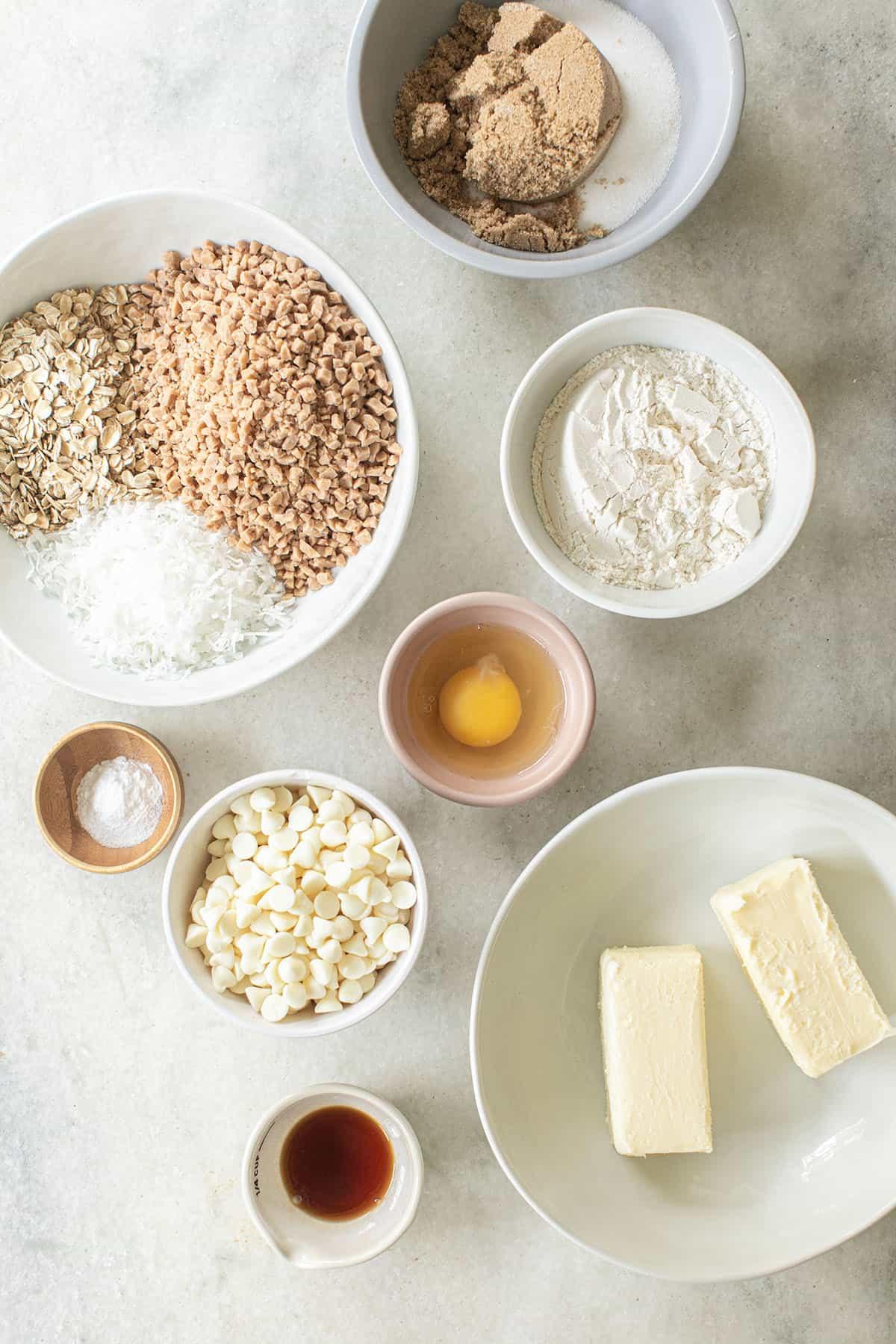ingredients to make kitchen sink cookies
