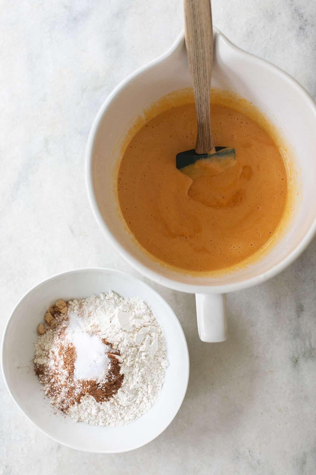 pumpkin bread batter and dry ingredients