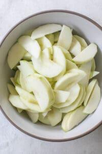 sliced apples for homemade apple crisp
