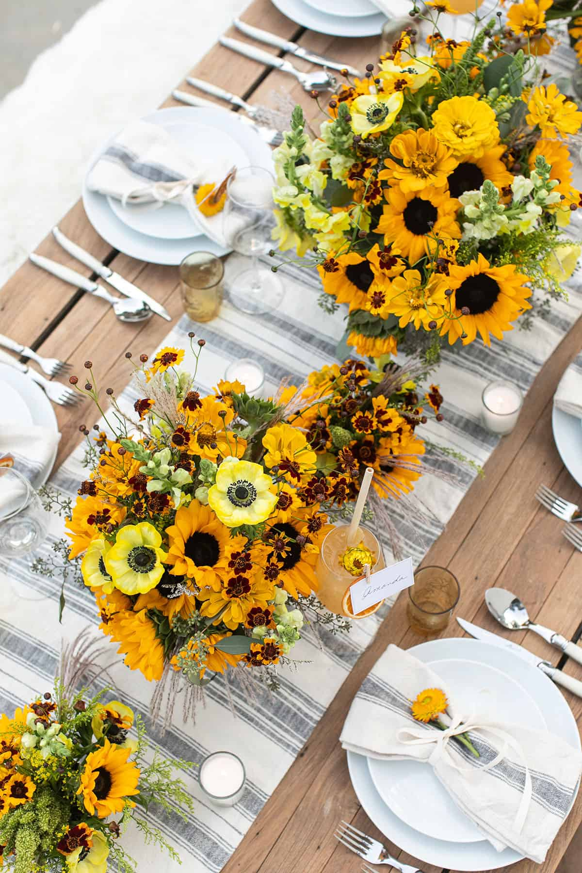 fall harvest party with sunflowers