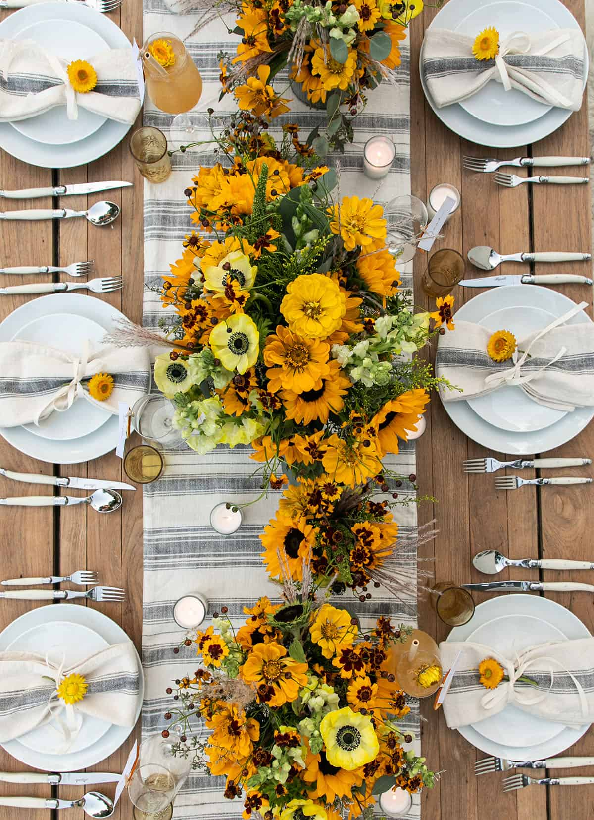 fall harvest table setting with fun flowers