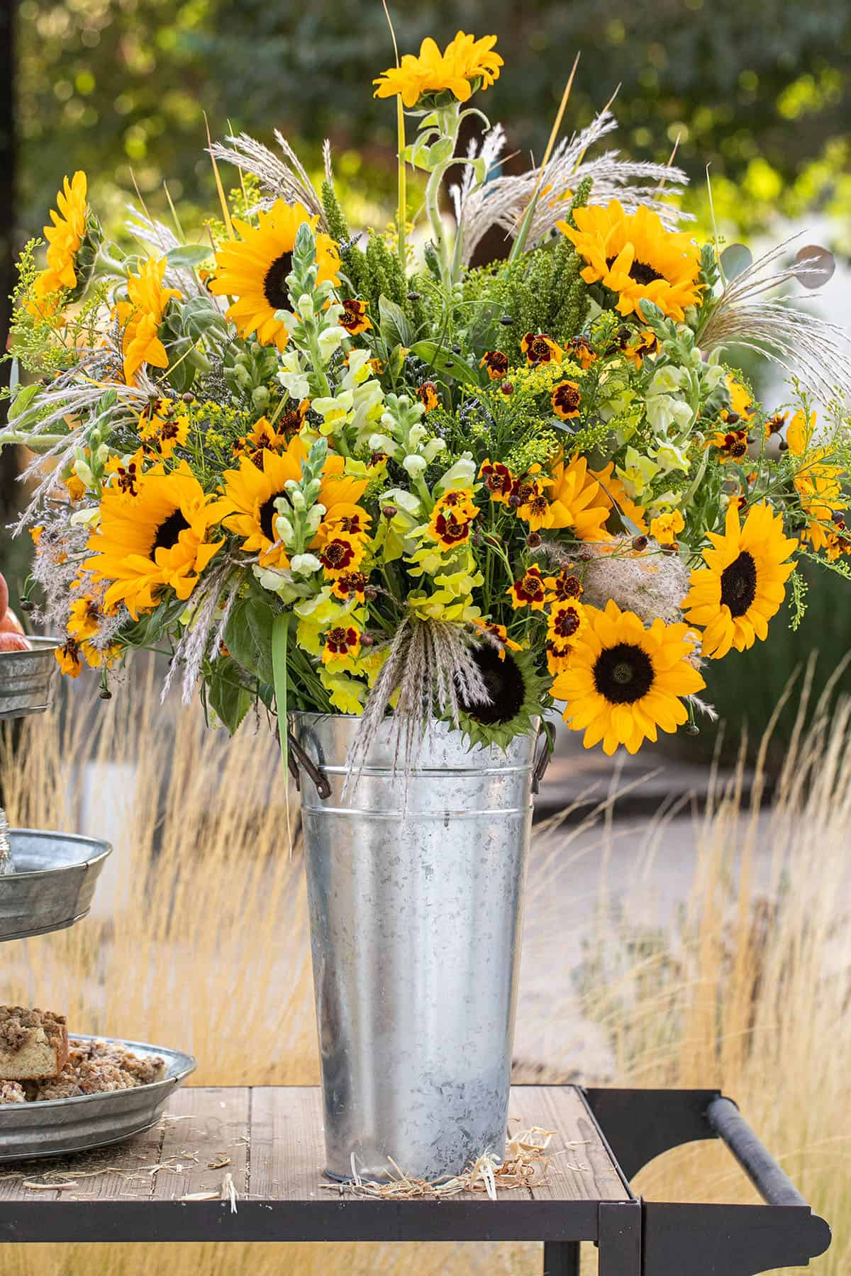Fall sunflowers in a galvanized tin