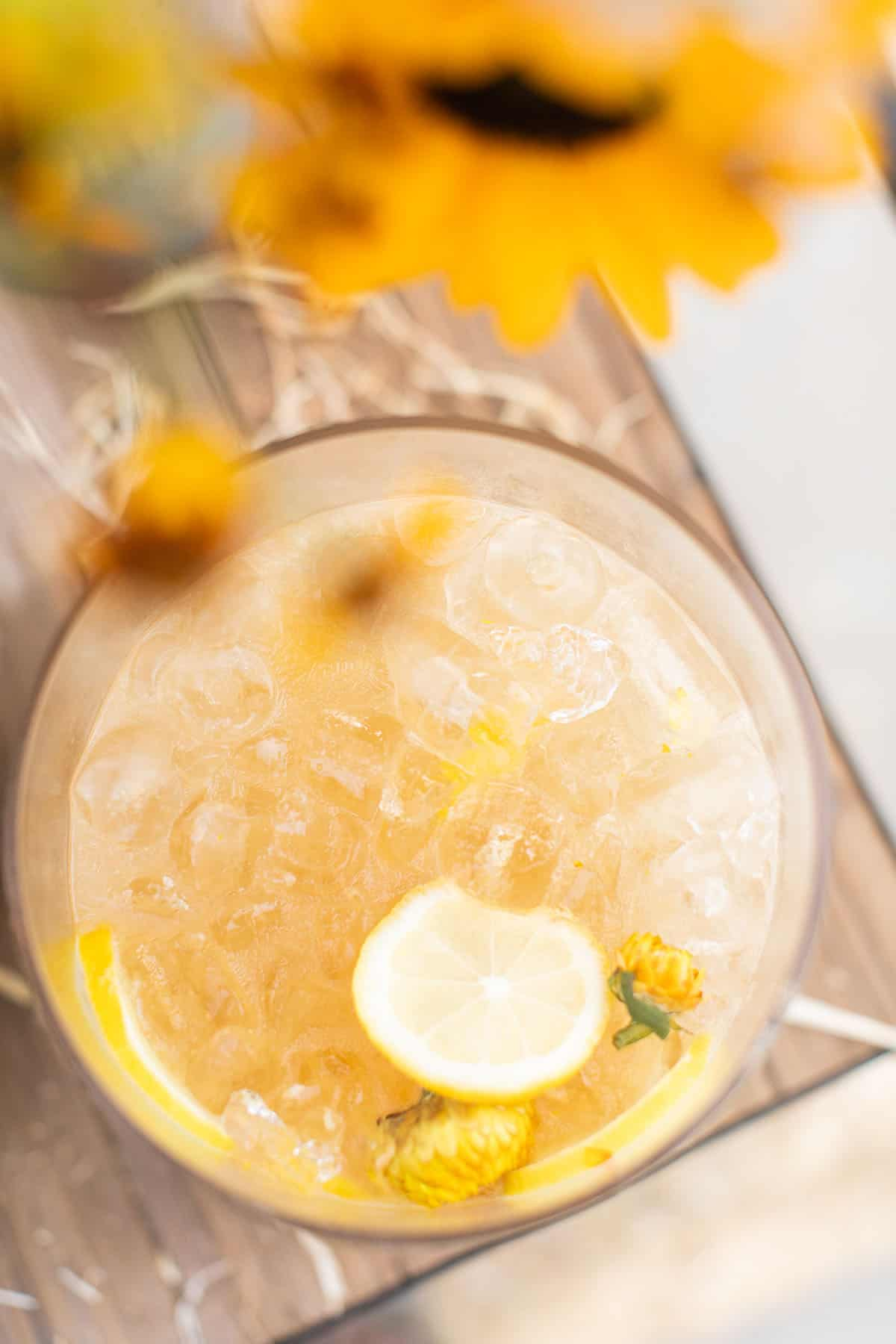 ginger whiskey punch with lemon juice and ginger
