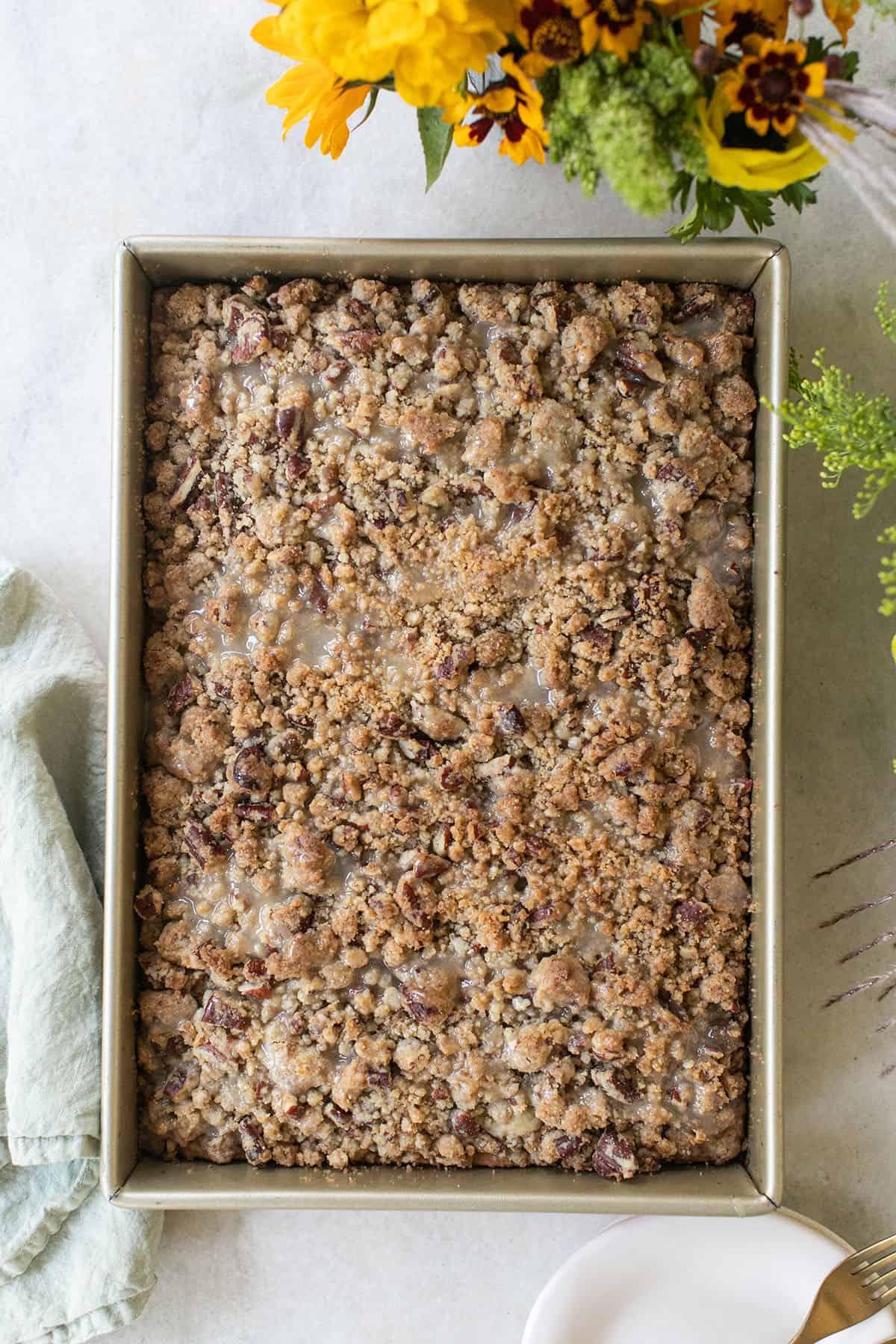 crumb cake in a sheet pan