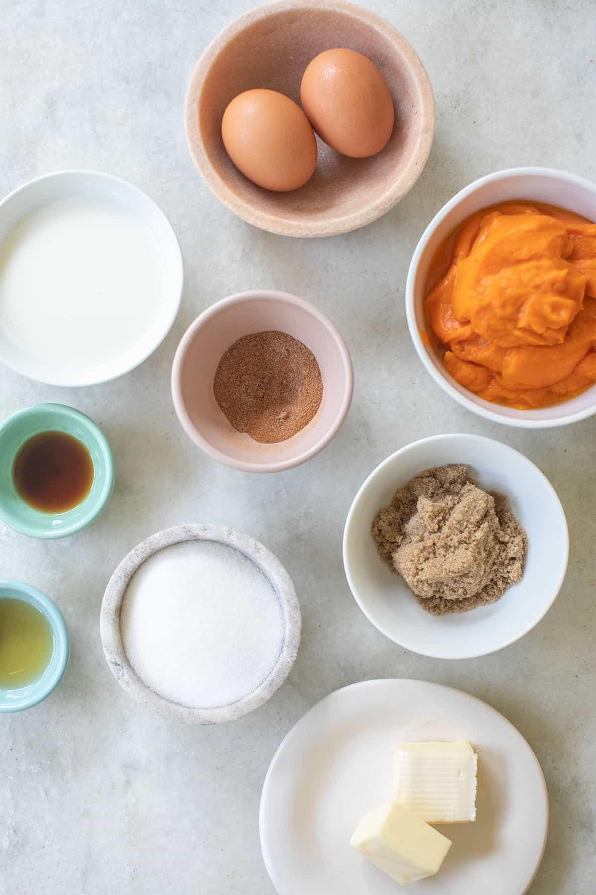 ingredients to make sweet potato pie