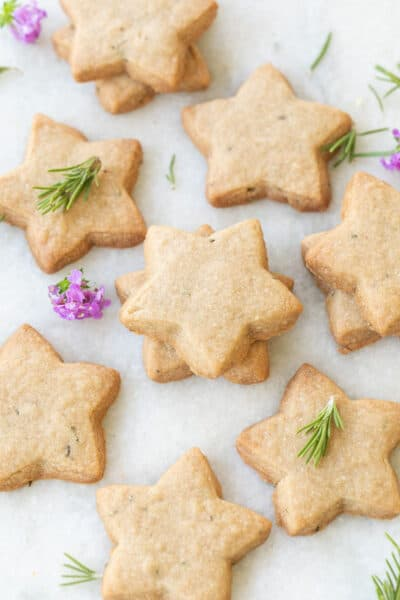 the best brown sugar shortbread cookies with rosemary
