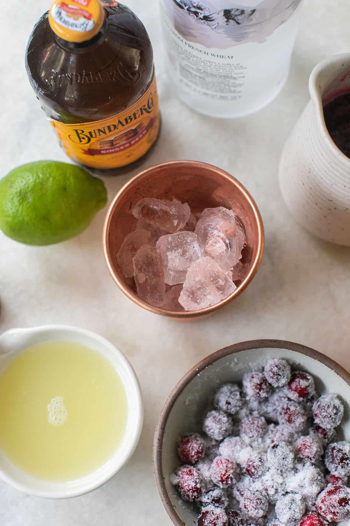 ginger beer, lime juice, vodka, sugared cranberries and a copper mug