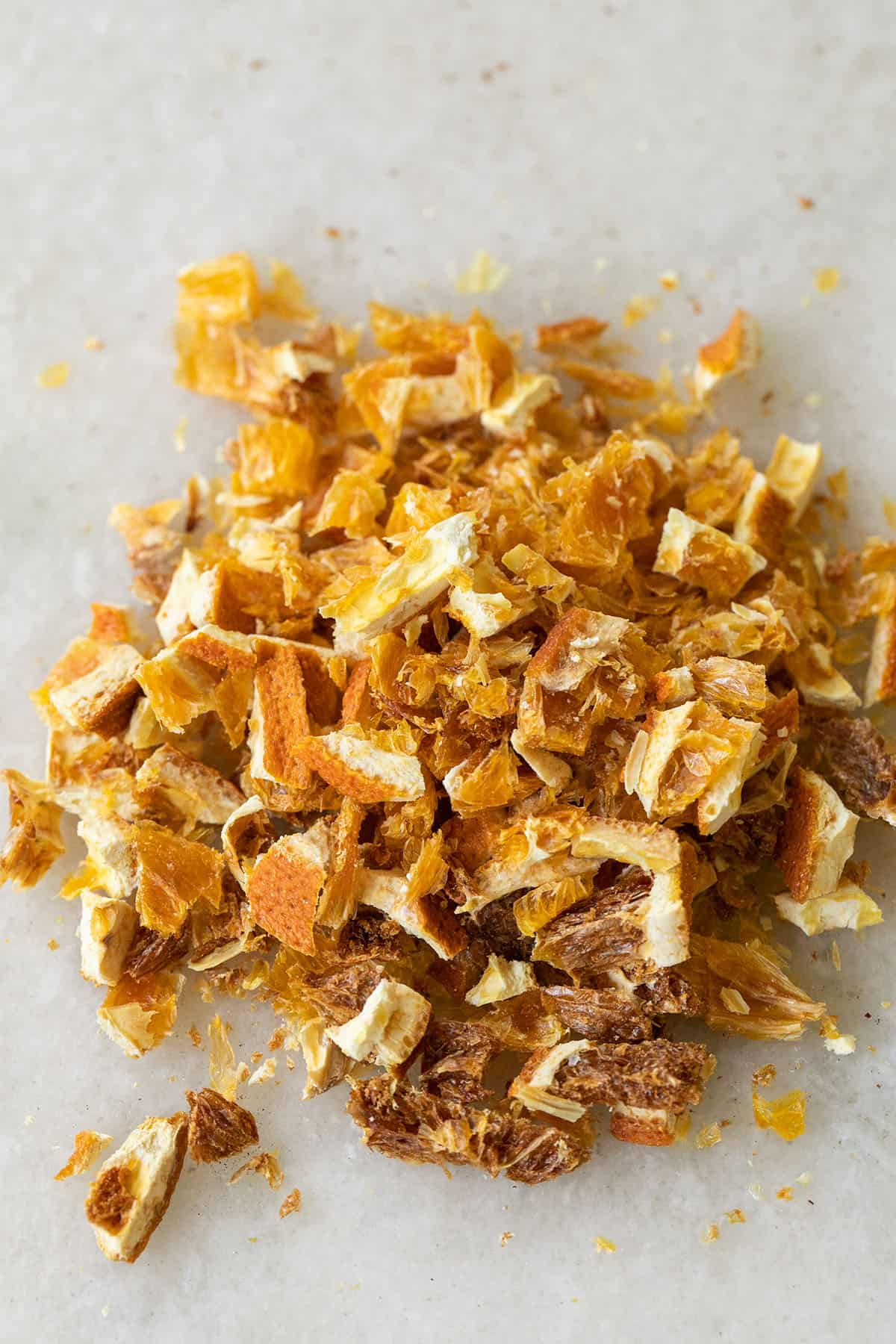 sliced orange peel for mulling spices